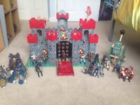 Wooden castle, trebuchet, Knights, horses and more