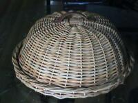 Wicker Food Tray and Dome Cover Set