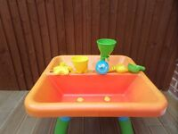 Early Learning Centre (ELC) Sand and Water Table with Lid and Accessories.