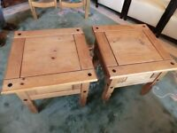 solid wood ( pine ) pair cabinets small tables in good order , part of a set