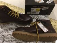 NEW Jack And Jones Genton Leather Wine Colour Lace Up Ankle Boots Uk Size 7 41