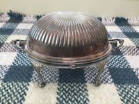 Fancy Antique Silver Plated Revolving Breakfast Dish Roll Over Dome Serve Keep Warm