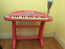 Child's pink keyboard with microphone-Excellent condition