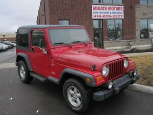 WOW  CLEAN 2000 JEEP  TJ 4X4 TWO TOPS CERTIFIED & EMISSIONED