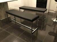 2 faux leather bench seats