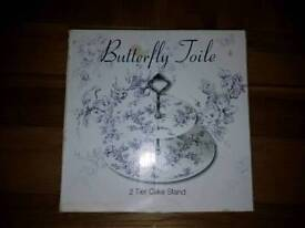 New boxed 2 Tier cake stand Butterfly Joile baking cookie teacake afternoon tea