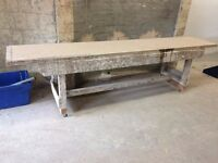 Wooden workbench with plaster top on wheels 300cm wide x 60cm deep x 81cm tall