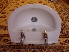 2 Taps Hole Vanity Basin with Taps, Waste Connection, Flexible Pipes