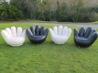 Real Cool Modern Designer Swivel Leather Hand Shaped Chairs