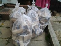 Slow burning hard logs.x 8 bags. Split and ready to born.