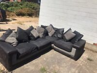 Large L shaped Sofa. Grey and charcoal colour