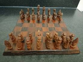 Hand carved african chess set