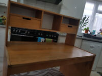 SOLID WOODEN DESK WITH SHELVING AND DRAWERS – VERY STURDY