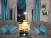 pair eyelet curtains and 4 matching cushions teal 72 x66
