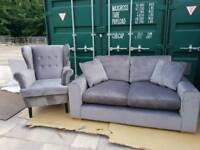 NEW Designer Porto Steel Grey 2 Seater Sofa DELIVERY AVAILABLE
