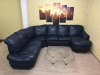 Large Navy Blue Leather Corner Sofa