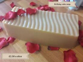 Home made Birthday Cake Soap Loaf.. scented like cake icing! Glittery top.. great pressies!