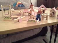 wooden play figures with furniture