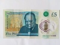 Banknote five pound note £5 AA