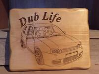Engraved wooden plaque vw golf