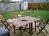 Folding patio table and 4 folding chairs