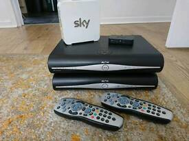 2 sky+HD box's (1 wireless), 1 on demand connector,, white sky hub and 2 sky+ remote controls