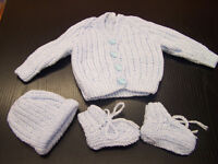 Beautiful new hand knit baby set cardigan hat and bootees pale blue with bunny rabbit buttons