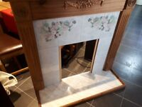 Pine and tile fire surround and hearth