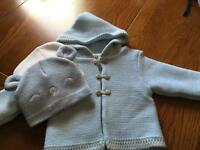 Baby boys cardigan and 2 hats brand new age 3-6 bundle
