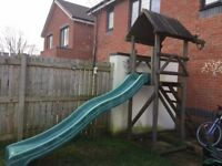 Wooden Climbing Frame with Wavy Slide