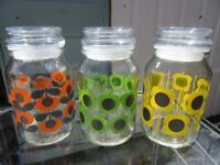 Set Three Orla Kiely Glass jars