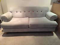 DFS Perfect Condition 2 Seater Grey Sofa With Coloured buttons