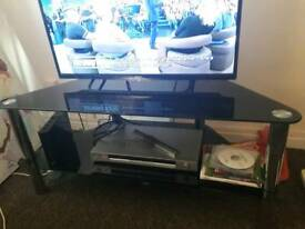 Black fmglass & silver tv stand
