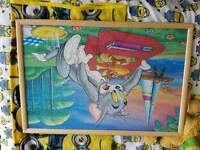 Tom & jerry jigsaw framed