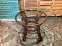 Glass Dining Table With Rattan Wicker Colonial Style Base