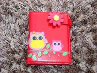 As new faux leather red owl purse. With popper/coin dept & compartments for cards and
