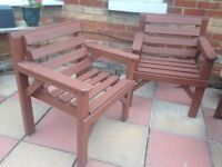 Wooden garden patio table and 2 chairs