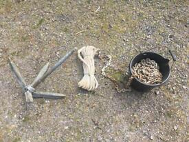 Folding Grapnel Anchor 15kg with 10m chain & 25m Warp.