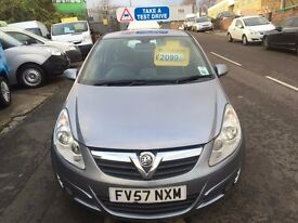 VAUXHALL CORSA 1.4 DESIGN 3 DOOR 2007/57REG 88K £1850 £99 DEPOSIT FOR FINANCE