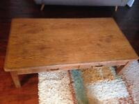 Large oak coffee table upcycled