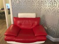 Red & white leather sofa, chair and footstool