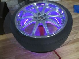 alloy wheel coffee table kahn rsv 2 with led lights