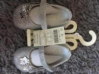 Baby girls size 2 brand new with tags silver shoes