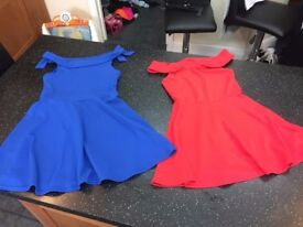 NEW LOOK PARTY DRESS GIRLS AGE 14-15 YEARS BLUE & 12-13 YEARS RED NEW COLD SHOULDER OFF THE FREE DLV