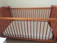 Cot bed with mattress and sheets