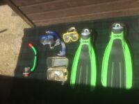 dive masks (3) snorkels (2) and fins