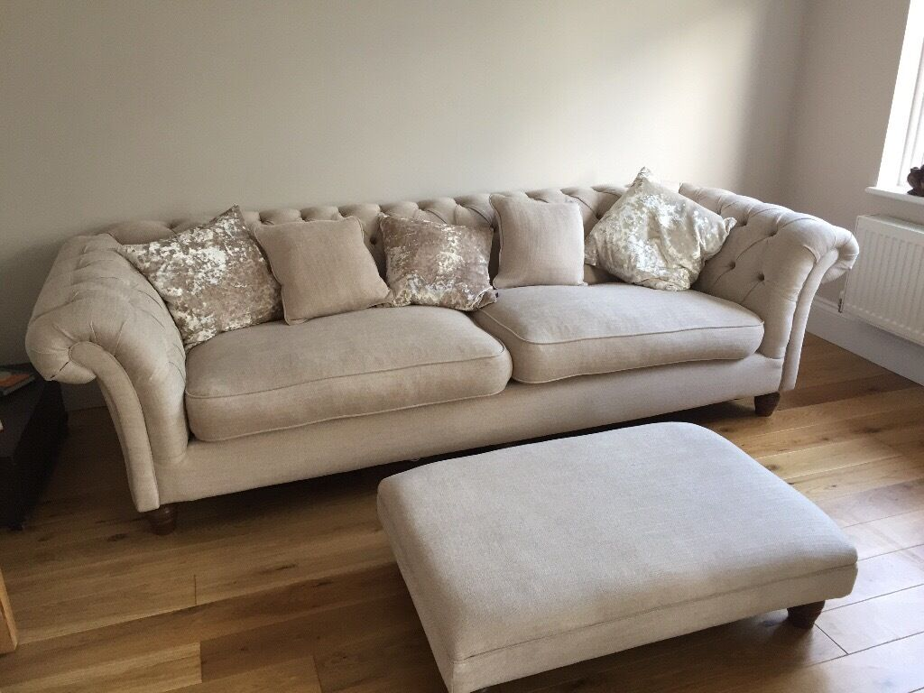 'Wheat' coloured fabric Chesterfield sofa, armchair and footstool in Westbury On Trym, Bristol
