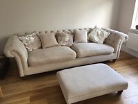 'Wheat' coloured fabric Chesterfield sofa, armchair and footstool