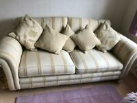 3 seater sofa in cream with gold pattern