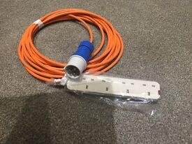Camping electric power cable for use with tent or awning 10m long brand new with 4way UK socket